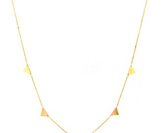 14k Yellow Solid Gold Triangle Necklace with Adjustable Chain 16-18""