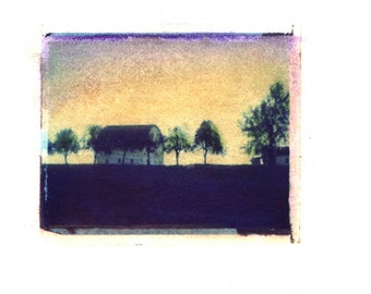 Blue Barn -  Archival Print of an Original Polaroid Transfer, Signed Limited Edition 8x10 Matted