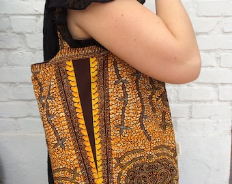 Tote bag in African print fabric/carrying case with inner pouch/school Supplies
