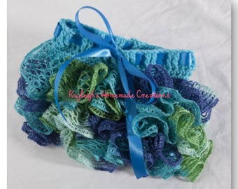 """Blue Green & Teal Ruffle Skirt  