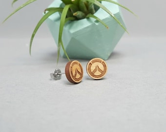Overwatch Symbol Earrings - Laser Engraved on Alder Wood - Hypoallergenic Titanium Post Earrings