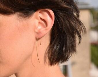 Thin Gold plated Earrings, Sterling Silver Earrings, Dangle, Hammered, Elegant Open Hoop Earrings, Lightweight Modern Minimalist Wire Design