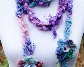 Pastel Pink and Blue Crochet Scarf, Long Crochet Scarf, Pixie Scarf, Handspun Art Yarn Scarf, Boho Scarf, Hippie Scarf, Fringe Scarf