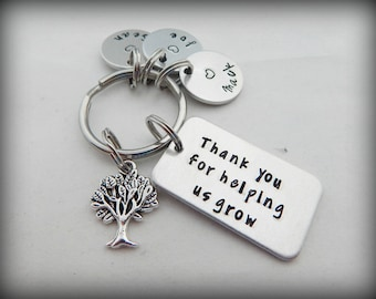 Thank you for helping us grow - Personalized Custom Hand Stamped Teacher Keychain - Mentor Key Chain - Teacher Appreciation - Back to School