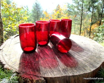 Anchor Hocking Royal Ruby 4 Inch Tumblers - Royal Ruby by Anchor Hocking - Set of 5 Royal Ruby Glasses