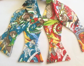 Anime' Bow Tie and or Pocket Square: Vibrant Japanese Anime Print, Sold Individually,  Red or Teal. Self tie or PreTied. Unique Handmade Tie