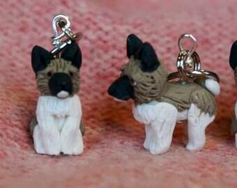 Akita Polymer Clay Dog Stitch Markers (set of 4)