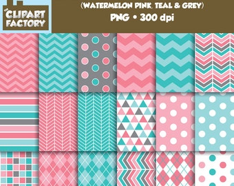 Clip Art: Geometric Patterns-Watermelon Pink, Teal, Grey - 18 Digital Papers