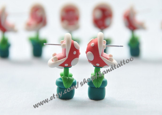 Sale nintendo super mario youch piranha plant earrings zoom negle Image collections