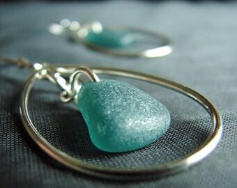 Sea Glass Earrings / sea glass jewelry / beach glass earrings  / teal seaglass earrings  /  seaglass jewellery / oval dangle earrings