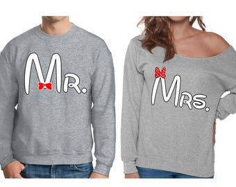 Mr. and Mrs. Couples Sweatshirt, Valentines Day Couples Sweater, Mr. and Mrs. Sweater, Valentine gift, Disney Inspired Sweaters