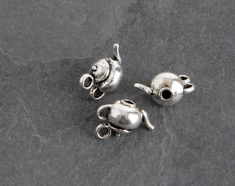 9 Antique Silver Teapot Charms, English Tea Time Metal Charms Destash