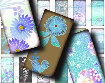 Japanese Design Blue (1) Digital Collage Sheet - 30 Dominos 1x2 inch or Bamboo size - Buy 3 Get 1 Extra Free