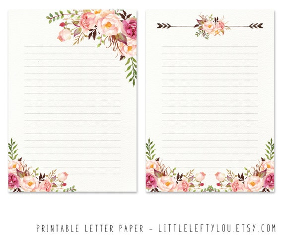 printable letter paper floral 2 stationery writing letter