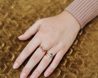 july birthstone ring | raw ruby ring | genuine red ruby ring | july birthstone jewelry | natural ruby ring | arch ring | wave ring | v ring