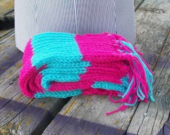 Knitted Pink and Turquoise Long Scarf Ready to Ship