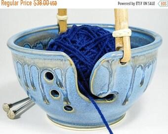 ON SALE Bowl for Knitters - Crochet Bowl - Yarn Holder Crochet - Crocheting Caddie - Handled Crochet Bowl - Bowl Knitting - In Stock
