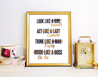 Gold Foil FRAMED PRINT Feminist Girl Boss, Act like a Lady, Think Like a Man, White & gold home decor, office decor, gold print