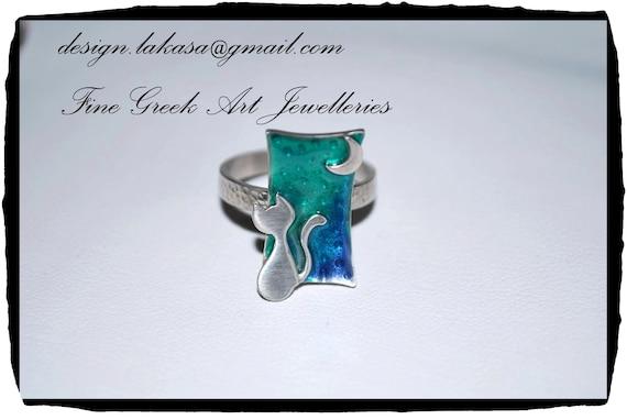 Ring Blue Green Enamel Cat Moon Sterling Silver Handmade Jewelry Fine Greek Art Best Gift Ideas for her Birthday Anniversary Romantic Woman