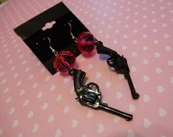 Gun Hot Pink Crystal Beaded Dangle Earrings