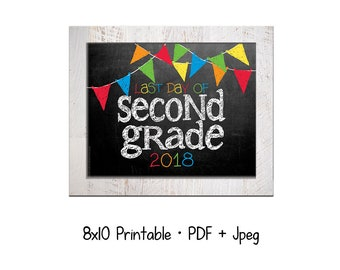 2018 Last day of School for 2nd Grade.  DIY printable 8x10 photo prop for kids' last day of school, Instant Download.