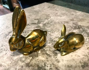 Vintage Brass Rabbits Mom and Baby