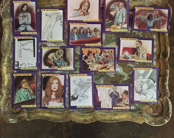 1992 Crime & Punishment trading cards ABC- TV producer Bruce Carroll's rare complete deadly hippies Charles Manson family courtroom sketch