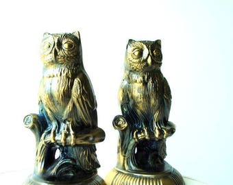 Boho vintage 70s  cast metal with a bronze finish, owl bookends.