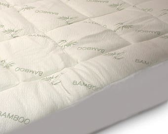 Luxurious Bamboo Fitted Mattress Pad, Snug fit Topper. Extra Plush, Extra Soft