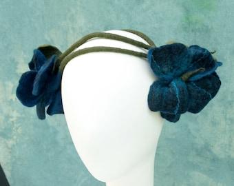 Midnight Flower Crown - Ozma Flower Crowns - Hand Felted Merino Wool - Circlet - Headpiece - Fairy - Stems