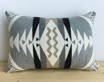 Geometric Wool Pillow // Stone Zigzag