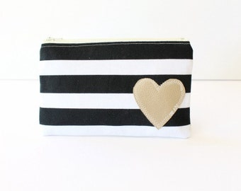 Zip Pouch Zipper Pouch Black and White Striped Pouch Wallet Pouch Small Zipped Bag Small Clutch Purse