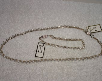 Vintage New Eisenberg With Tags Faux Pearl & Matching Bracelet Gold Tone Set