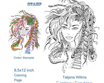 Special Price! Autumn - Doodle/Zentangle/Tangle Ausmalbild Digi Stamp Adult Coloring leaves windblown