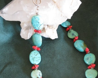 Necklace turquoise-coral-silver-southwestern style-sundance style-artisan jewlery-native american inspired-organic-natural-affordable