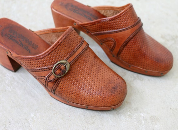 Thom 2 5 5 McAn Mules 5 1 Women's 1970s Wood Size fq8ZwfdO