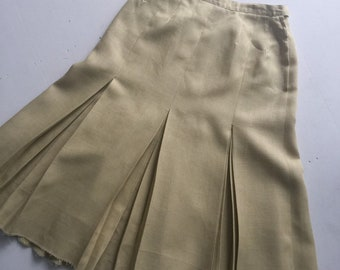 """Natural Linen Double Pleated Skirt, 80's Pleated Skirt, High Waist Skirt, Vintage Skirt, 27"""" Waist, Natural, New Zealand, Size 8 US 10 UK, D"""