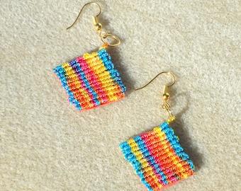 Macrame  earrings, rainbow  jewelry, micro macrame, knotted jewelry, boho jewelry,  tribal, hippie, chic
