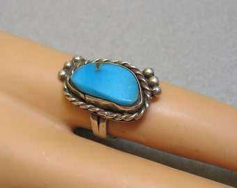 Native American Turquoise Ring, Sterling Silver, Vintage, Size 6.75