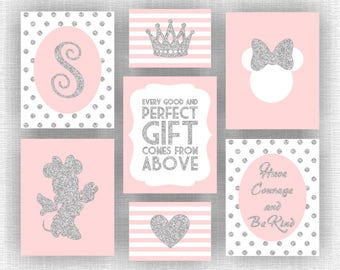 INSTANT DOWNLOAD Pink and silver glitter Minnie Mouse room decor, Monogram, Crown, Heart, Bible Quote Nursery, Set of 7, 8x10-5 and 5x7-2