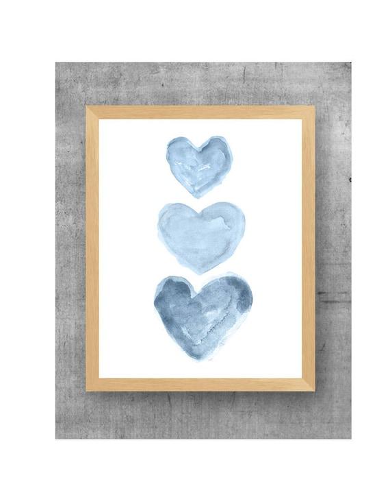 Denim Blue Hearts Nursery Print, 11x14