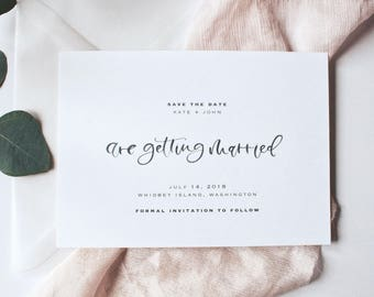 The Mod Save the Date, Watercolor Calligraphy Save the Date, Black Calligraphy Save the Date, Save the Date Invitations