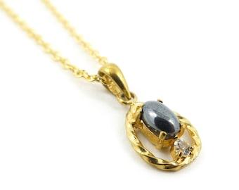 Vintage, Hematite Necklace, Pendant, Rhinestone, Gold Tone, STU32