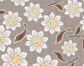 "LAST 31"" - Daisy Fabric - Riley Blake Daisy Cottage Fabric - Gray and Yellow Flower Fabric"
