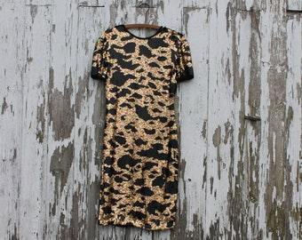 1980s short sleeve sequin midi dress, gold and black abstract print, scoop back, beaded edges, small, prom, silk lined, riazee made in india
