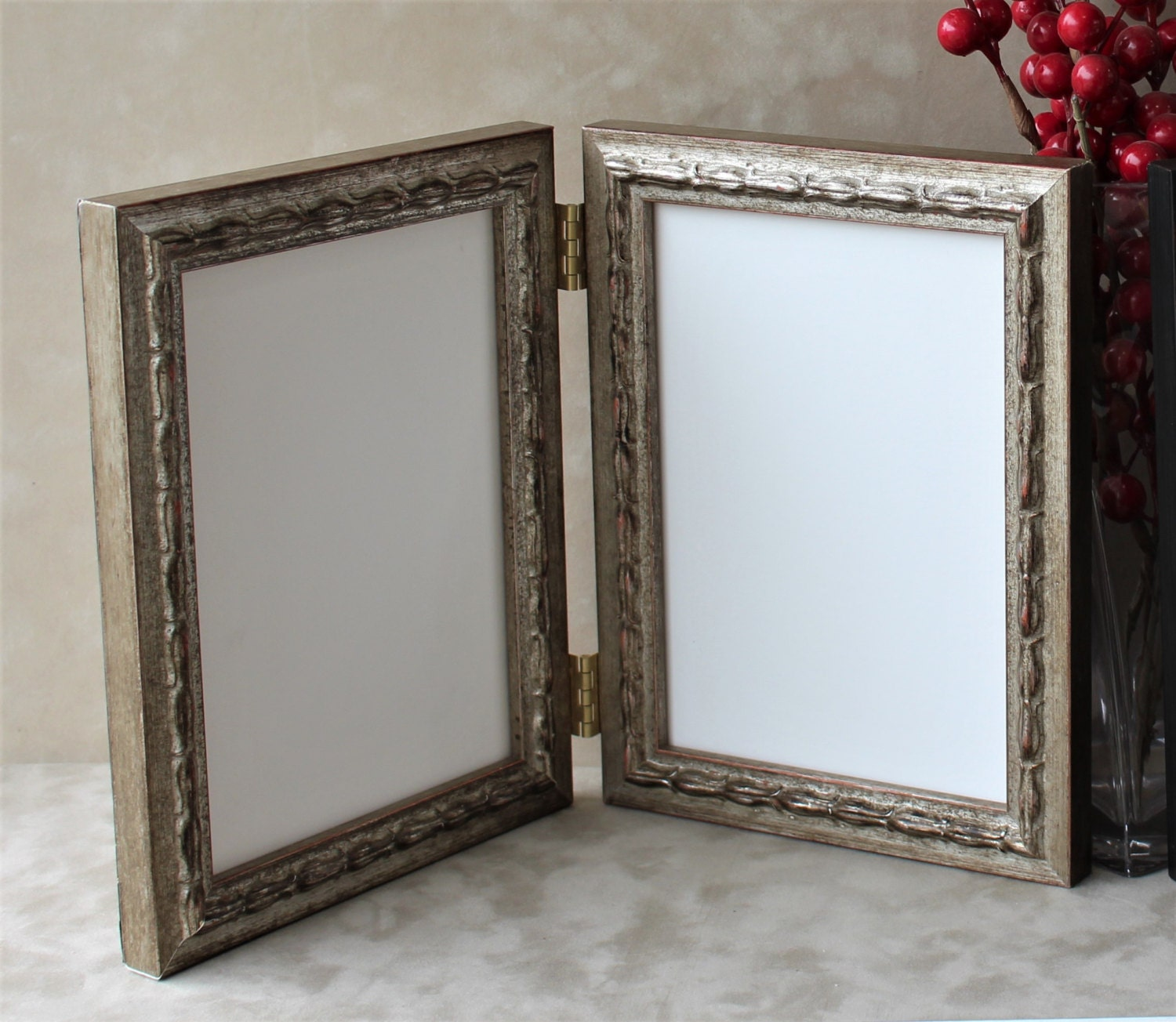 Ornate Antique Double Hinged Frame, Triple Hinged frame, Embossed ...