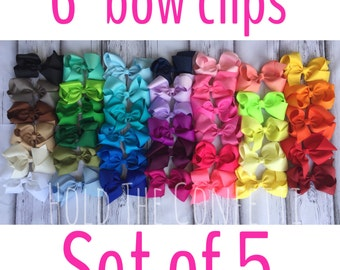 """Ready To Ship / 6"""" bow clips / Set of Five / You pick colors / Baby Bows / Boutique Bows / Girls Bows"""