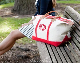 Monogrammed Weekender Bag, Monogrammed Overnight Bag, Women's Gift, Bridesmaid's Gift, Canvas Bag