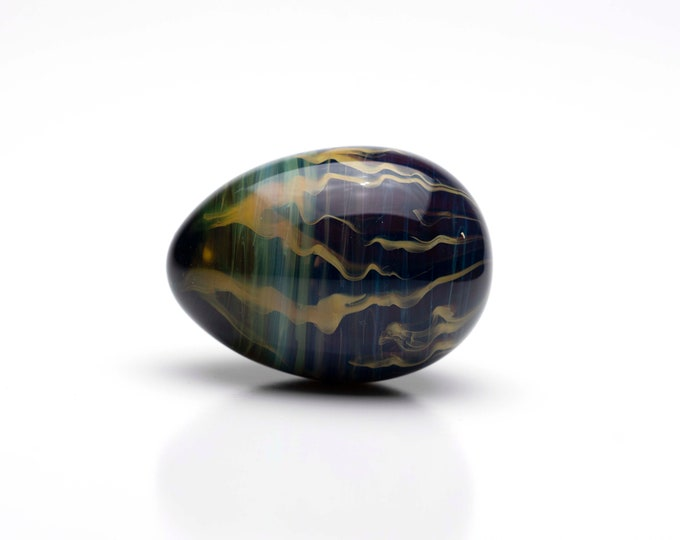 Glass Egg- Medium - Lightning Marble