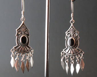 Sterling Silver and Onyx Earrings